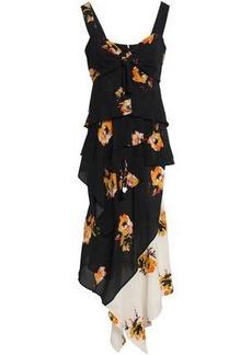 A.l.c. Woman Asymmetric Floral-print Silk-crepe Midi Dress Midnight Blue