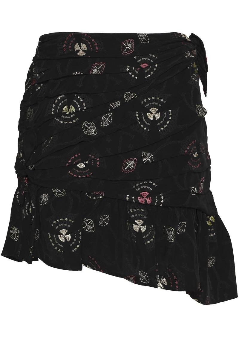 A.l.c. Woman Avalon Asymmetric Pleated Jacquard Mini Skirt Black