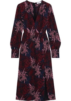 A.l.c. Woman Bailey Pleated Floral-print Silk Midi Dress Black