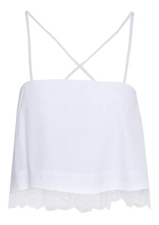 A.l.c. Woman Bassett Cropped Guipure Lace-trimmed Cotton-poplin Top White