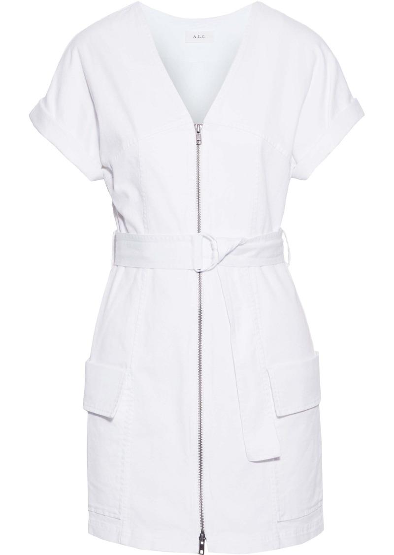 A.l.c. Woman Bellamy Belted Stretch-cotton Twill Mini Dress White