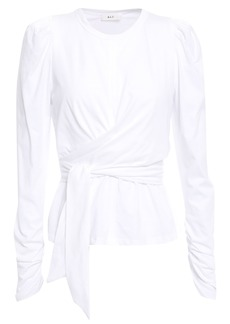 A.l.c. Woman Belted Cotton-jersey Top White