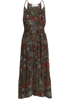 A.l.c. Woman Belted Fil Coupé Floral-print Silk-blend Midi Dress Black