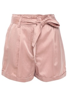A.l.c. Woman Belted Washed Cotton And Silk-blend Shorts Antique Rose
