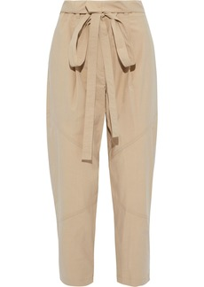A.l.c. Woman Bryan Cropped Belted Cotton-blend Tapered Pants Beige