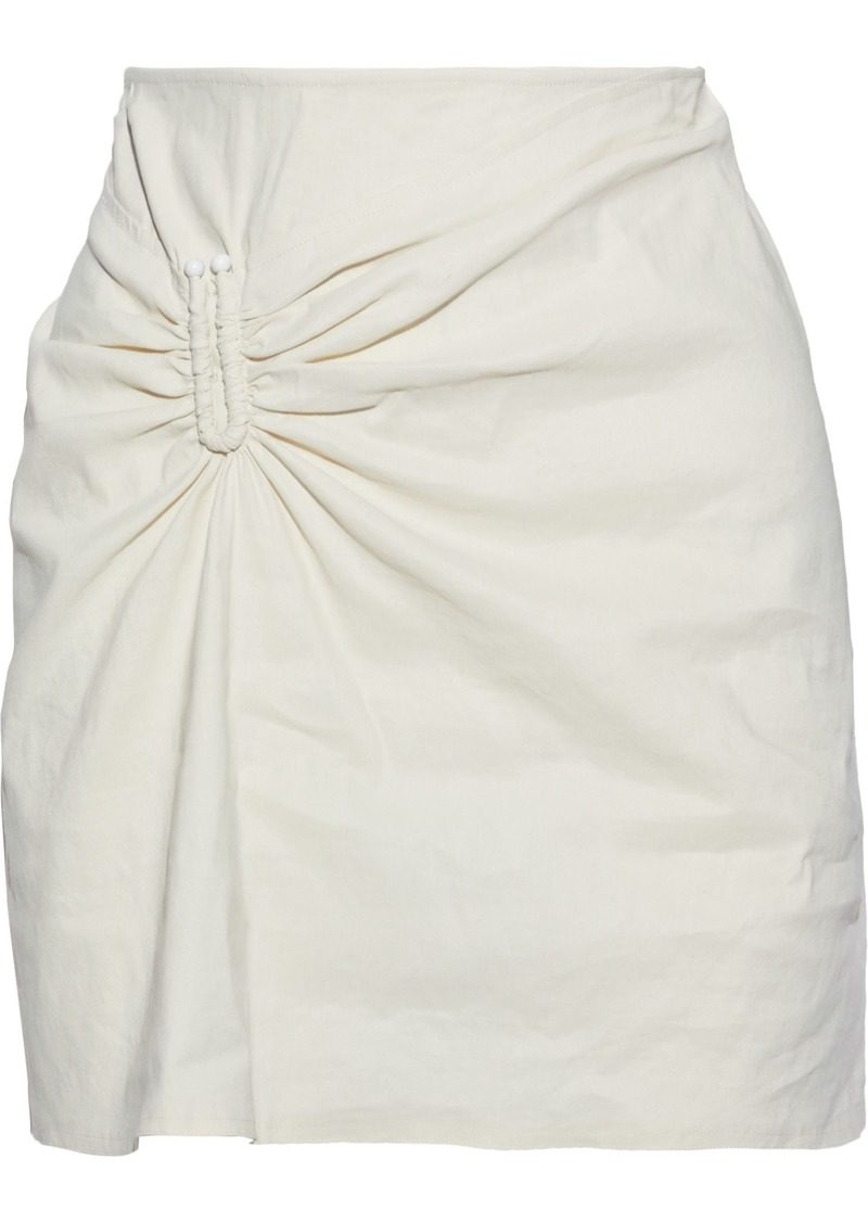 A.l.c. Woman Barbell-embellished Gathered Linen-blend Mini Skirt Ecru