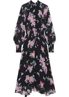 A.l.c. Woman Casey Shirred Floral-print Silk-crepon Midi Dress Black