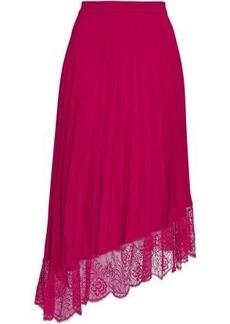 A.l.c. Woman Claude Asymmetric Lace-trimmed Crepe De Chine Midi Skirt Fuchsia