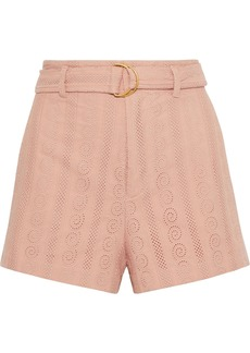 A.l.c. Woman Conley Belted Broderie Anglaise Cotton Shorts Blush