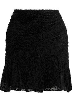 A.l.c. Woman Corey Ruched Devoré-chiffon Mini Dress Black