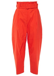 A.l.c. Woman Cropped Belted Pleated Linen-blend Tapered Pants Tomato Red