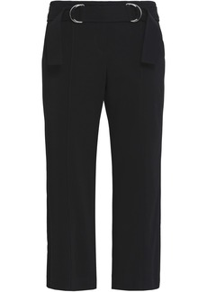 A.l.c. Woman Cropped Belted Stretch-crepe Straight-leg Pants Black