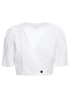 A.l.c. Woman Cropped Linen-blend Wrap Top Off-white