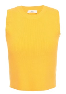 A.l.c. Woman Cropped Ribbed-knit Top Yellow