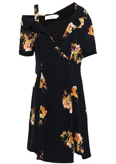 A.l.c. Woman Cutout Floral-print Silk-crepe Mini Dress Black