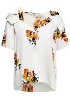 A.l.c. Woman Cutout Floral-print Silk-crepe Shirt White