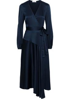 A.l.c. Woman Darby Asymmetric Silk-blend Charmeuse Midi Wrap Dress Storm Blue