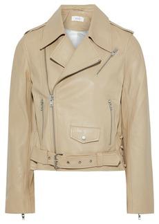 A.l.c. Woman Dree Lace-up Leather Biker Jacket Ecru