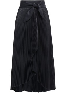 A.l.c. Woman Eleanor Plissé-satin Midi Wrap Skirt Midnight Blue