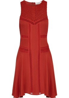 A.l.c. Woman Elin Crochet-paneled Mesh-trimmed Silk Crepe De Chine Mini Dress Brick