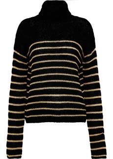 A.l.c. Woman Elisa Metallic Striped Intersia-knit Turtleneck Sweater Black