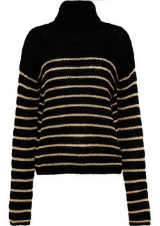 A.l.c. Woman Elisa Metallic Striped Intersia-knit Turtleneck Sweater Black