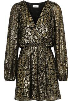 A.l.c. Woman Elsa Marina Metallic Fil Coupé Silk-blend Mini Wrap Dress Gold