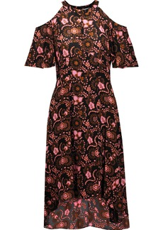 A.l.c. Woman Emile Cold-shoulder Printed Silk Crepe De Chine Dress Light Brown