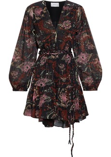 A.l.c. Woman Esme Belted Printed Metallic Silk-blend Chiffon Mini Dress Black