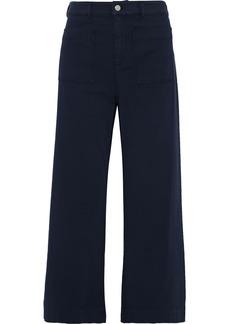 A.l.c. Woman Fallon Cropped Stretch-cotton Twill Wide-leg Pants Navy