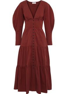 A.l.c. Woman Fleur Tiered Cotton-poplin Midi Dress Claret