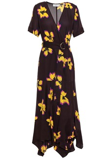 A.l.c. Woman Floral-print Silk-crepe Wrap Dress Merlot
