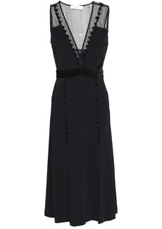 A.l.c. Woman Harlow Embroidered Chiffon And Point D'esprit-paneled Stretch-crepe Midi Dress Black