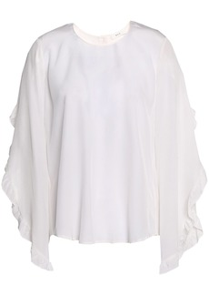 A.l.c. Woman Hera Ruffle-trimmed Silk Crepe De Chine Blouse Off-white