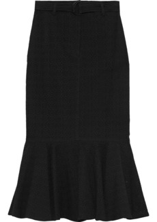 A.l.c. Woman Hinton Fluted Broderie Anglaise Cotton Midi Skirt Black
