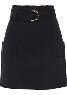 A.l.c. Woman Kai Belted Cotton And Linen-blend Twill Mini Skirt Black