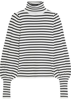 A.l.c. Woman Karla Striped Ribbed-knit Turtleneck Sweater White