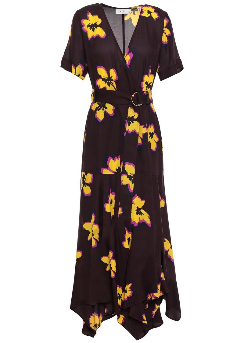 A.l.c. Woman Floral-print Silk-crepe Wrap Dress Merlot