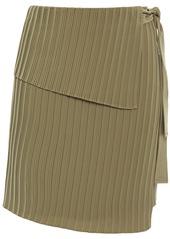 A.l.c. Woman Layered Plissé Crepe De Chine Mini Wrap Skirt Army Green