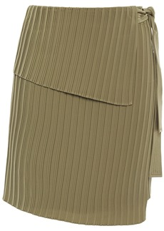 A.l.c. Woman Layered Plissé Crepe De Chine Mini Wrap Skirt Army Green