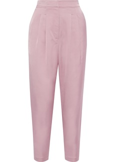 A.l.c. Woman Lennox Cropped Pleated Sateen Tapered Pants Baby Pink