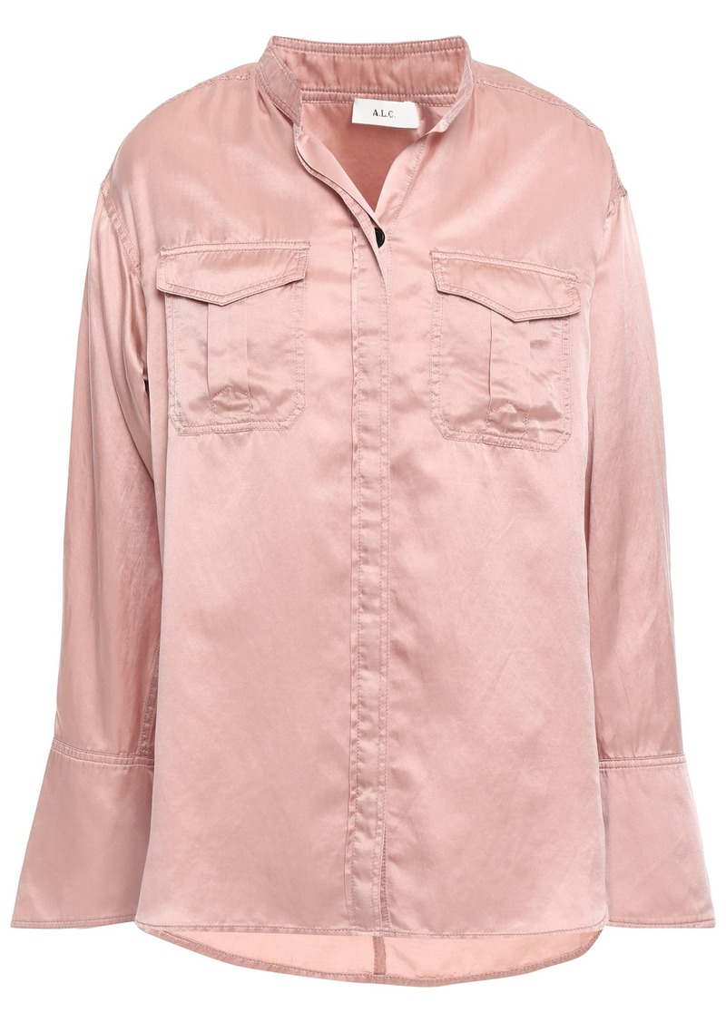 A.l.c. Woman Washed Cotton And Silk-blend Shirt Antique Rose