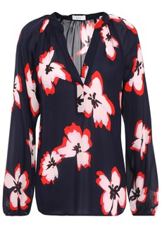 A.l.c. Woman Floral-print Silk-crepe Blouse Midnight Blue