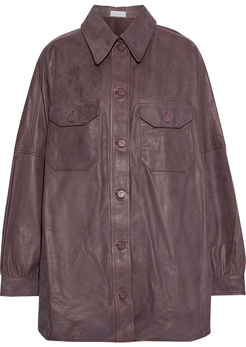 A.l.c. Woman Mercier Oversized Leather Jacket Chocolate
