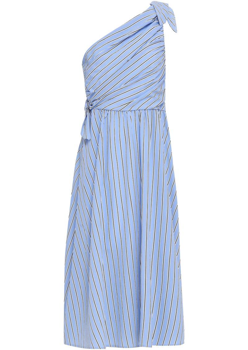 A.l.c. Woman Cabrera One-shoulder Striped Poplin Midi Dress Light Blue