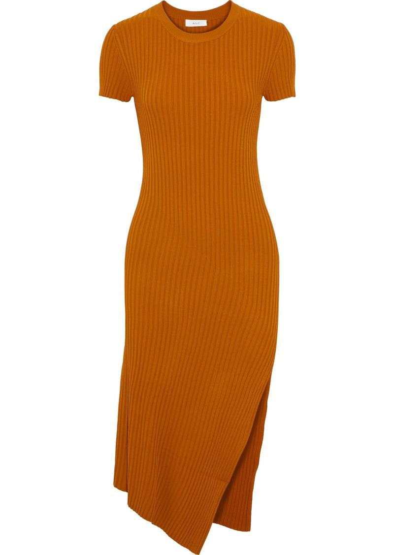 A.l.c. Woman Minetta Asymmetric Ribbed-knit Dress Orange
