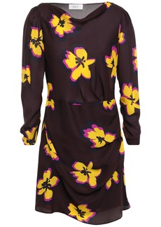 A.l.c. Woman Draped Floral-print Silk-georgette Mini Dress Merlot