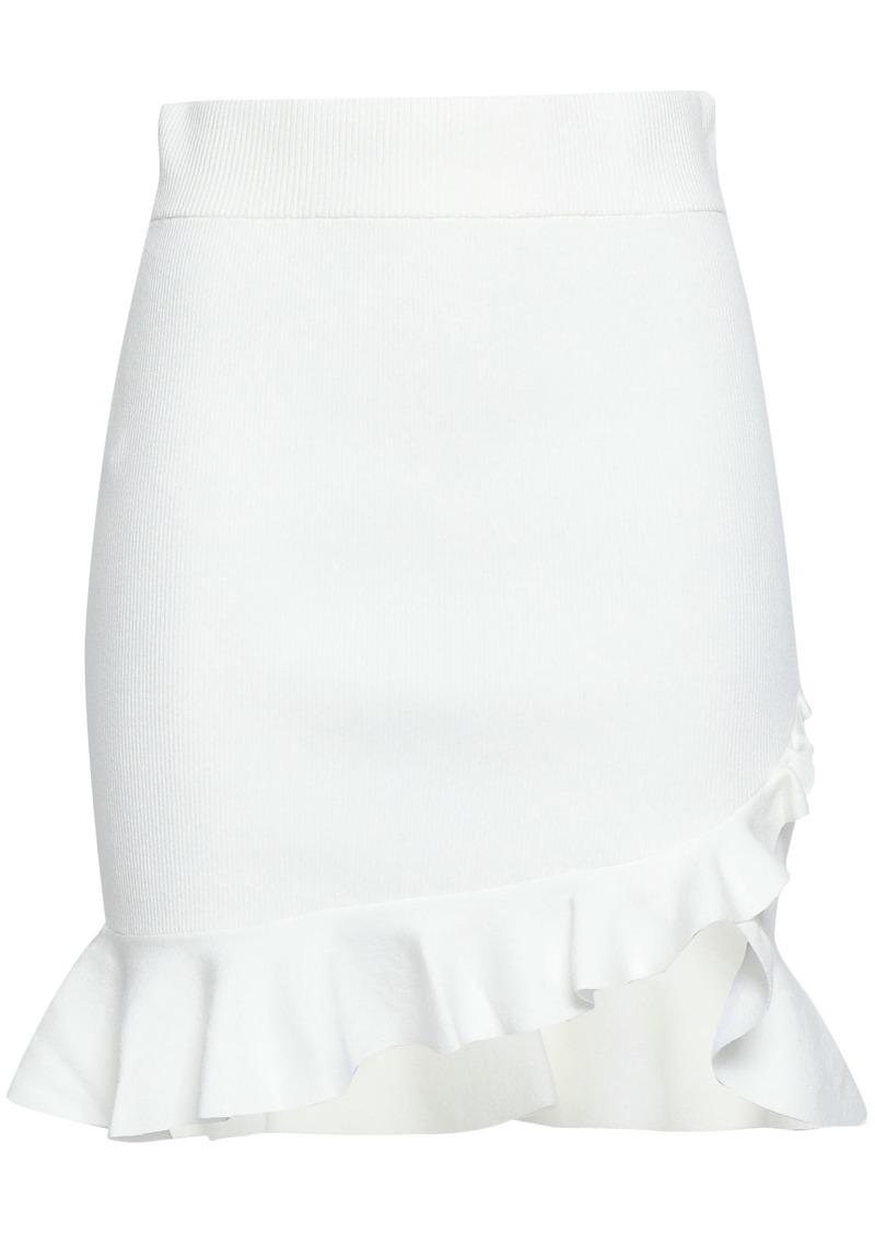 A.l.c. Woman Portman Ruffle-trimmed Ribbed-knit Mini Skirt White