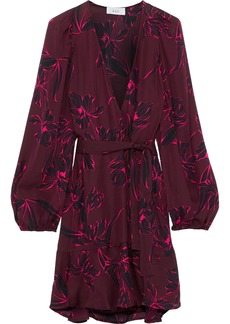 A.l.c. Woman Printed Silk Mini Wrap Dress Burgundy