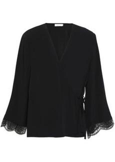 A.l.c. Woman Riona Lace-trimmed Silk-crepe  Wrap Top Black